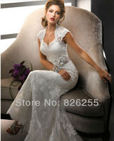 In Stock Free Shipping 2013 New Best Selling Sweetheart Mermaid Lace Wedding Gowns With Removable Sash