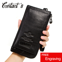 Contact's Casual Men Wallets Genuine Leather Coin Purse Wallet High Quality Cell Phone Bag For Man Long Clutch Card Holder
