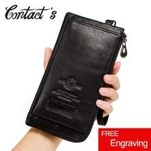Portafogli da uomo Casual di contatto portafoglio portamonete in vera pelle borsa per cellulare di alta qualità per uomo porta carte frizione lunga