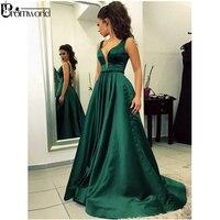 Emerald Green Muslim Evening Dresses 2019 A Line V Neck Satin Dubai Saudi Arabic Backless Long Evening Gown Simple Prom Dress