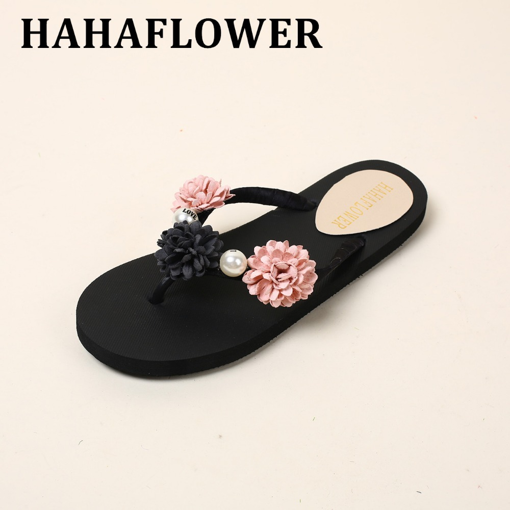 HAHAFLOWER 2017 New Casual flowers Beachshoes Sweet Non-slip Platform Wedges Women Summer Beach Shoes Sandals   A20 phyanic 2017 gladiator sandals gold silver shoes woman summer platform wedges glitters creepers casual women shoes phy3323