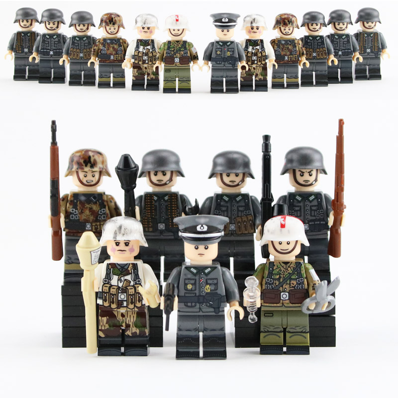12pcs WW2 Military Army Soldier Figures Building Blocks German Autumn Soldiers Medic Parts Weapon Helmet Accessories Bricks Toys