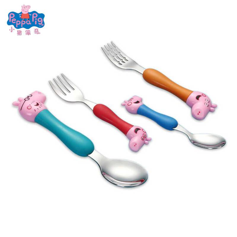 Świnka Peppa codzienna jadalnia łyżka widelec sztućce dla dzieci kreskówka świnka Peppa Model Grip zestaw łyżek dzieci prezenty świąteczne zabawki