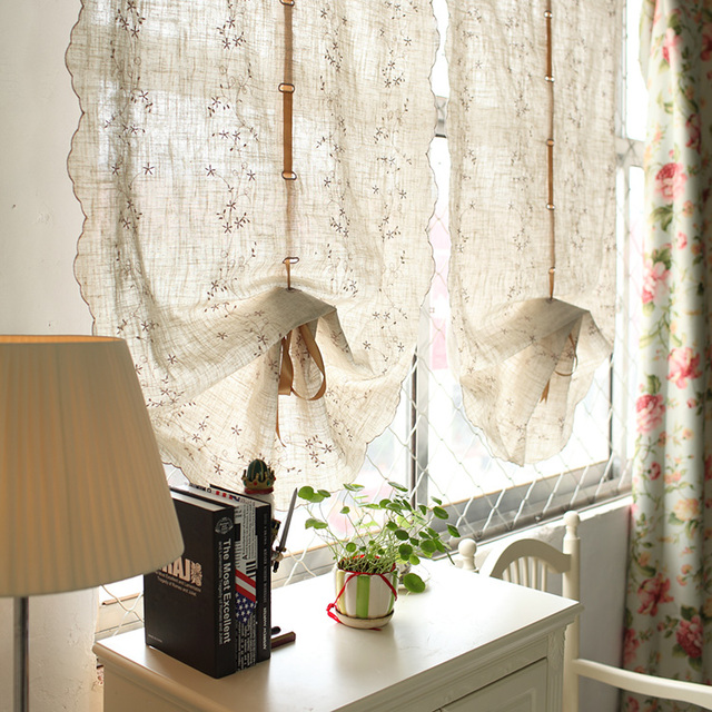 Fluid Embroidery Linen Balloon Curtain For Living Room Window Short Kitchen  Curtain