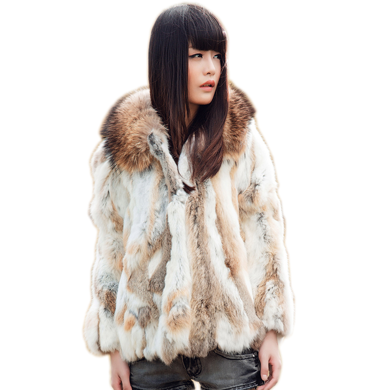 Harppihop* Genuine Rabbit Fur Coat with big hat natural rabbit fur jacket Women short Rabbit Fur coat with raccoon Free Shipping-in Real Fur from Women's Clothing    1