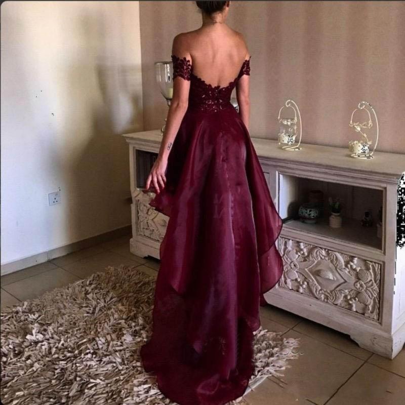 Evening Dress Hi Low Burgundy Vestido De Festa Custom Made Appliques abendkleider Evening Dresses Sleeves Organza vestido longo in Evening Dresses from Weddings Events