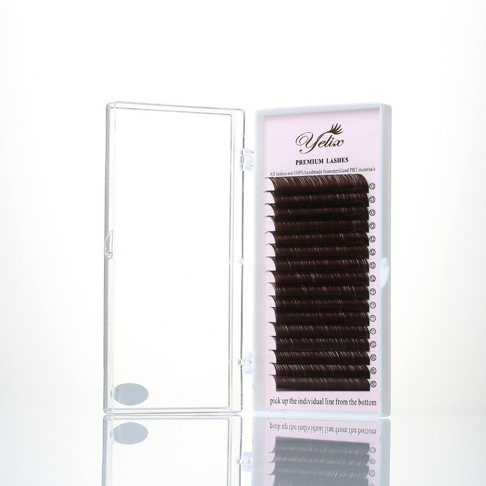 Yelix 0.07/0.1 Dark Brown False Eyelashes Individual Mink Lashes Colored Natural Soft Fake Eyelash Extension 16 Lines