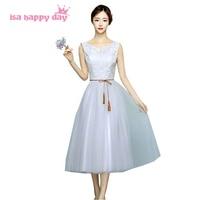 Cinza menina v neck tea comprimento elegante vestidos de dama de honra da irmã de noiva princesa das meninas vestido de baile vestido de festa para adolescentes H4089