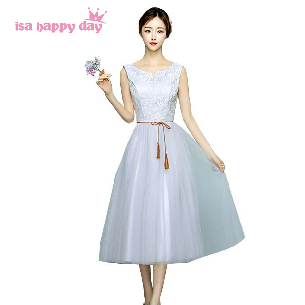 gray girl v neck tea length elegant   bridesmaid     dresses   sister of bride girls princess ball gown party   dress   for teens H4089