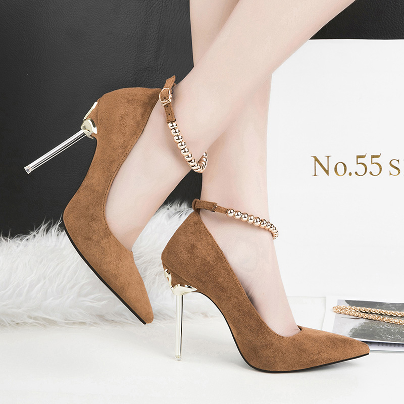 2019 Women 10cm High Heel Metal Chain Pumps Lady Sexy Pointed Toe Wedding Bridal Strap Pumps Female Scarpins Green Brown Shoes2019 Women 10cm High Heel Metal Chain Pumps Lady Sexy Pointed Toe Wedding Bridal Strap Pumps Female Scarpins Green Brown Shoes