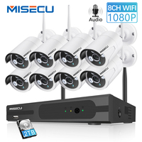 MISECU 8CH 1080 P CCTV Беспроводной Системы аудио запись 4/8 шт. 2.0MP ИК Открытый P2P IP Wi-Fi для камеры наблюдения комплект видеонаблюдения