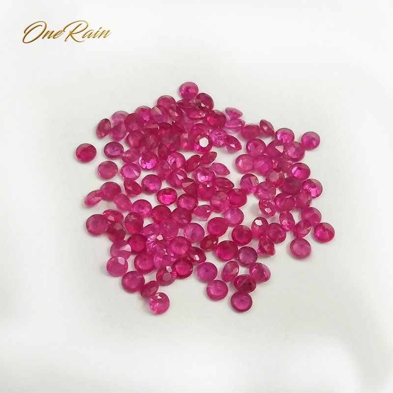 OneRain Loose Gemstone 1 PCS High Quality 1.75 MM Round Natural Ruby Stones DIY Decoration Jewelry Accessories Gifts Wholesale