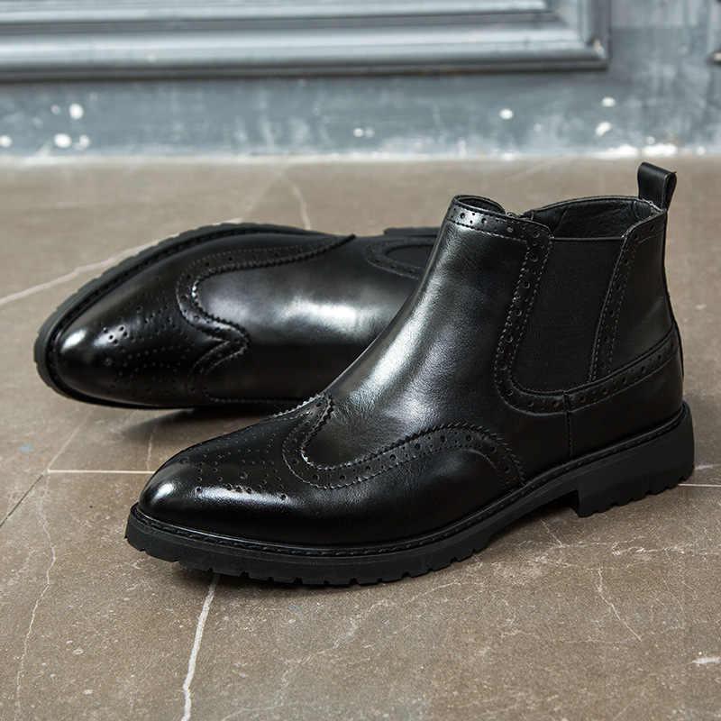 2019 bottes en cuir hommes daim cuir hommes bottines Chelsea bottes hommes court chaussures décontractées britannique automne début hiver bottes 48
