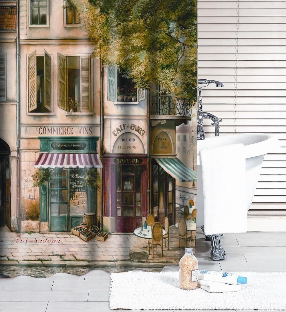 bath shower curtain 186X185cm Polyester fashion reminisced waterproof Coffee House bathroom curtain 1PC free shipping-0