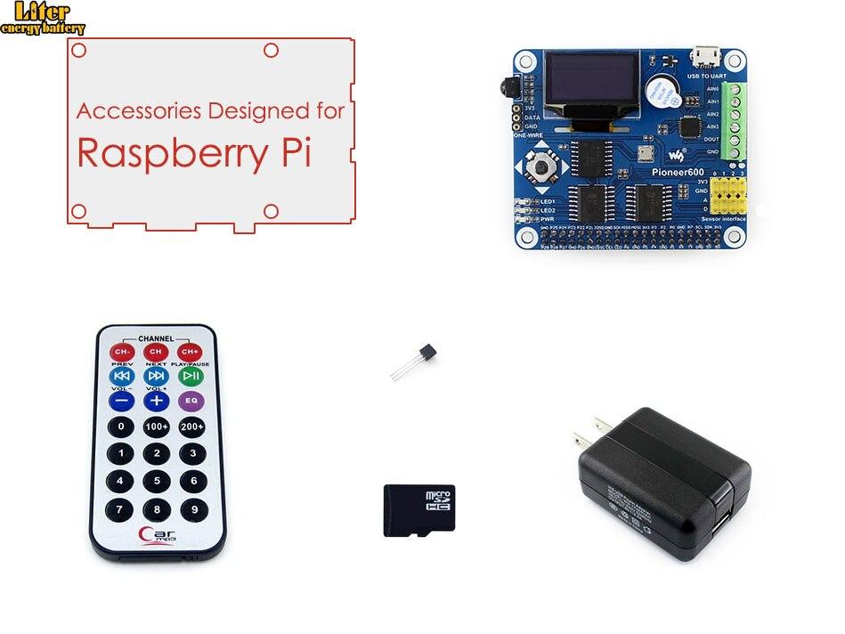 Raspberry Pi RPi Acce B avec carte d'extension RPi pionnier 600, carte Micro SD 16 go et contrôleur IR pour Raspberry Pi 3B/2B/B +/A +