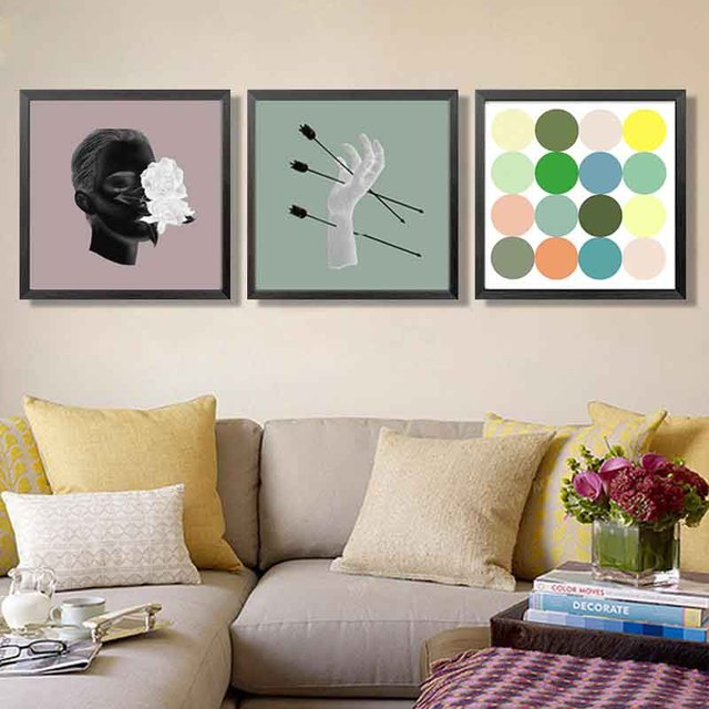 Nordic Arrows Through Hand Man Head Arts Picture Aesthetic Craft Colorful Dot Art Canvas Painting Wall