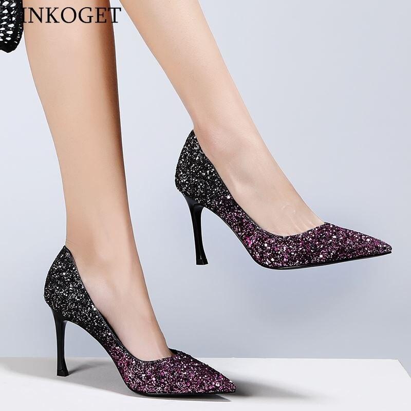 as Mode Pailletten Büro Picture Spitz Damen Heels High Picture Schuhe Partei Marke Qualität Hohe Frauen As Heel Yinkoget Ufwdaq4xCq