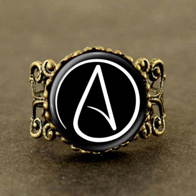 Steampunk Atheist Symbol Black Silver Jewelry Ring Gifts Glass Ring