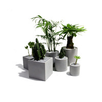Silicone Concrete Molds Square Shapes Three Size Geometric Flower Pots Cement Planter 3d Vase Mould