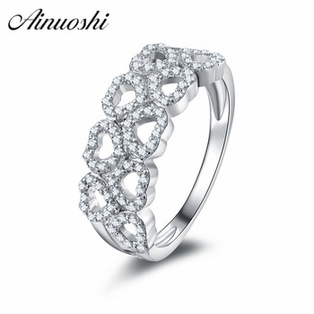 AINUOSHI Fresh Slender Love Opening Hearts Rings 925 Sterling Silver Decorated Female Ring Infinite Promise Engagement Wedding
