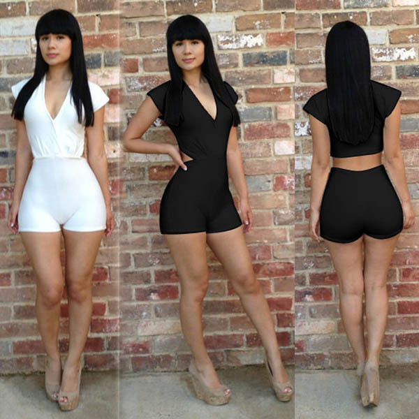 ac27dffba2f3 Hot Women Elastic Slim Bandage Overalls Hollow Out Short Sleeve Bodycon  Jumpsuit Playsuits Sexy Night Club Party Jumpsuit ZA1568