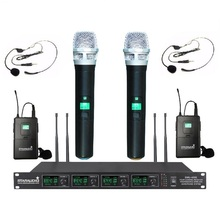 STARAUDIO SMU-4000A+B Pro Stage Church Club 4 Channel UHF Wireless Digital Microphone System W/ 2 Handheld  2 Headset Mics