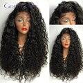180 densidad peluca llena del cordón del pelo virginal peruano pelucas largas sueltas virgen rizada del pelo 28 pulgadas de encaje suizo del frente del cordón peluca de cabello humano
