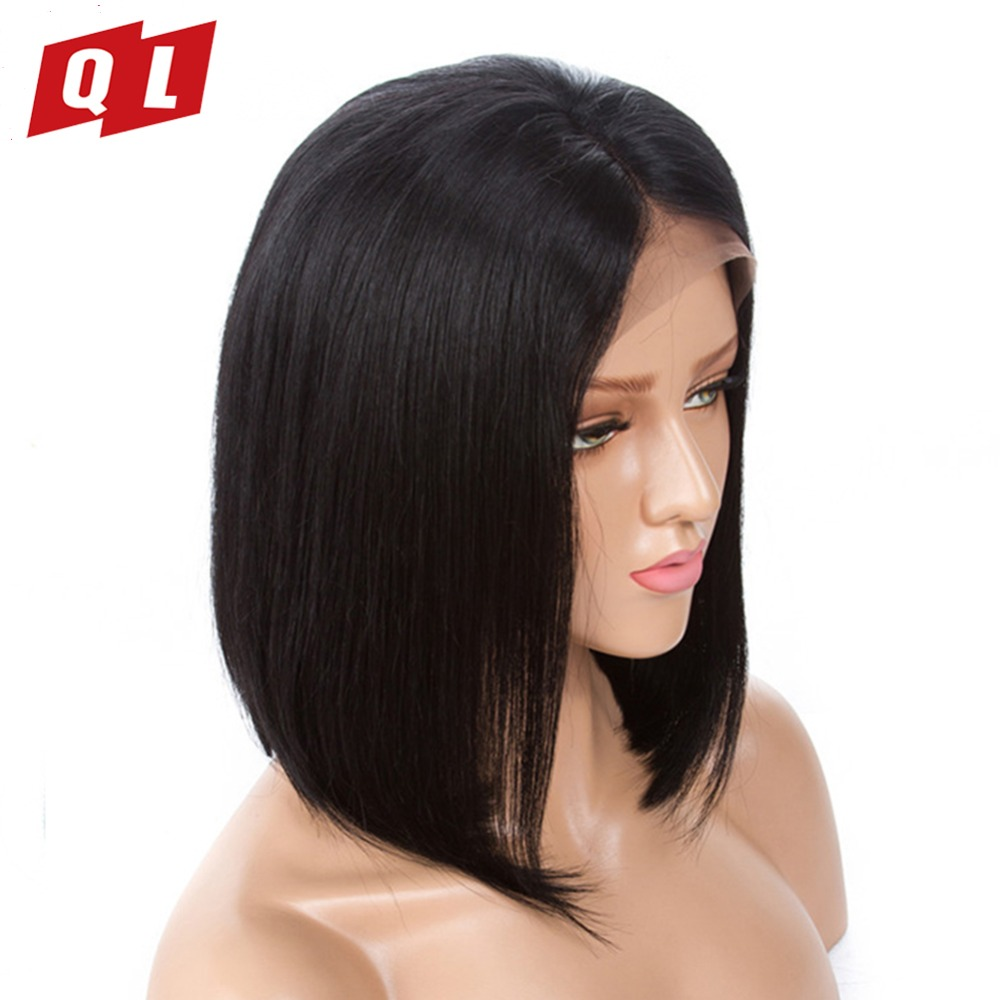 QLOVE Peruvian Human Hair Lace Front Wigs Straight Hair Bob Wigs For Black Women Remy Human