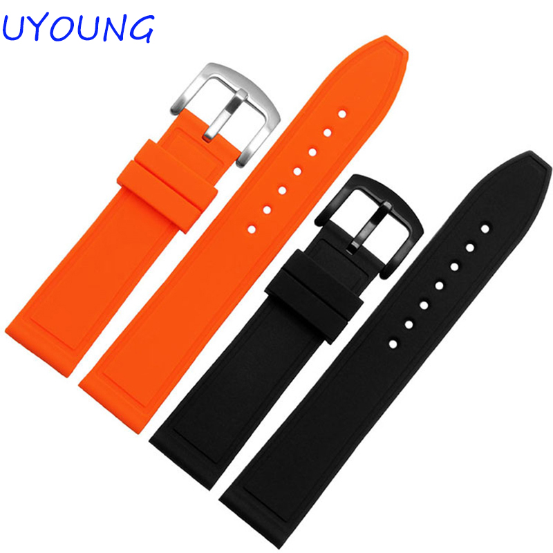 Solf Silicone Watchband 20mm 22mm 24mm Orange Black Bracelet  For Mens Watch Accessories Sport Watch Strap