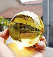 Asian Rare Natural Quartz Yellow Magic Crystal Healing Ball Sphere 40mm Stand