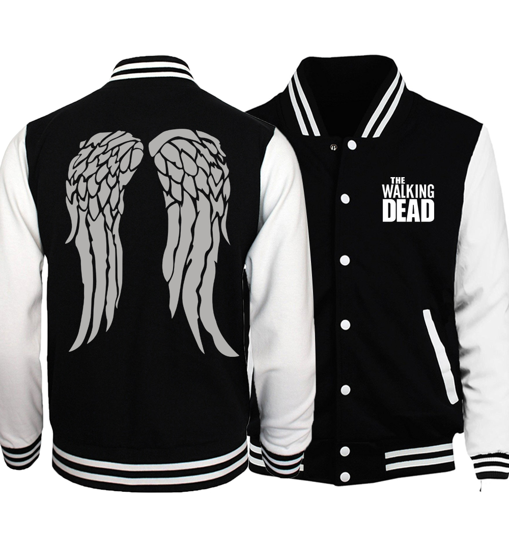 The Walking Dead Jacket Men Wing Print Coat 2018 Spring Autumn New Brand Black White Baseball Uniform Hip Hop Streetwear Homme