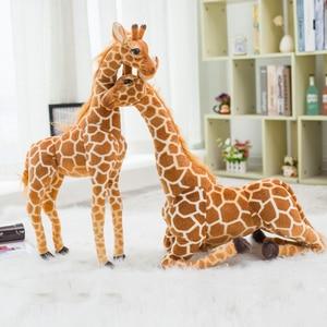 Image 4 - Jirafa de peluche con forma de animales para niños, muñeco de felpa con forma de jirafa, realista, simulación de ciervo, regalo de Navidad