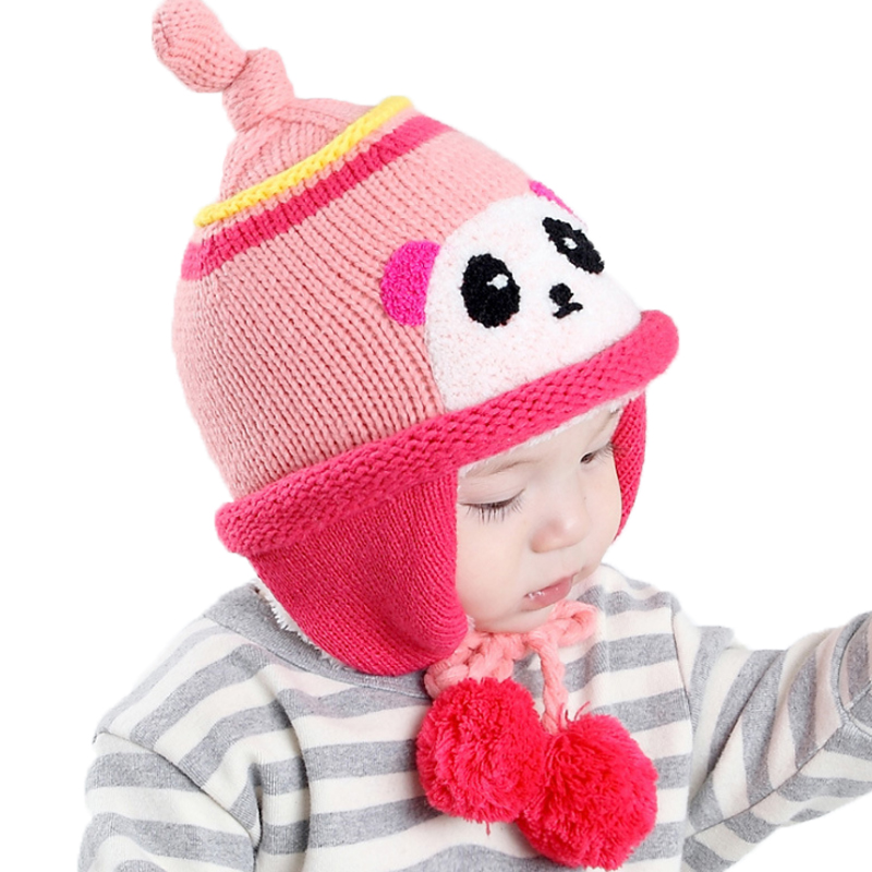 Winter plush cartoon panda ear muff hat baby hat for Girls Boys Headwear newborn photography props Hats Knitted baby cap