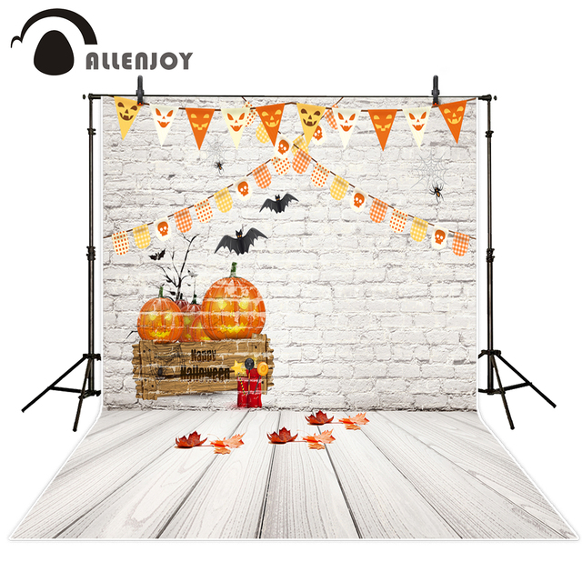 allenjoy photo backdrop halloween pumpkin party bat flags celebrate white brick wall background photobooth fantasy props