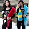 women fashion fur scarf,collar, fox fur collar scarf faux long scarf fur shawl patchwork stripe color block scarf winter female
