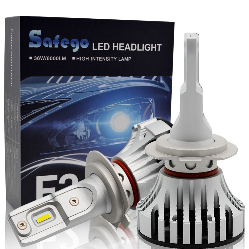 Safego 36 W H11 H4 H7 Voiture phare LED Kit-Safego H8 H9 9005 9006 Ampoules 2 LED très brillante Puces 6000Lm Auto Ampoule Blanc 6000 K