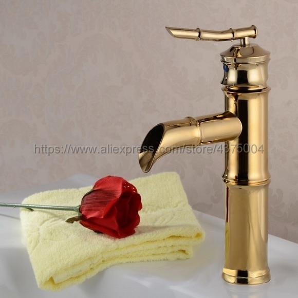 Robinet de lavabo de salle de bain froide et chaude robinet de salle de bain couleur or en laiton robinet de lavabo monté Ngf007