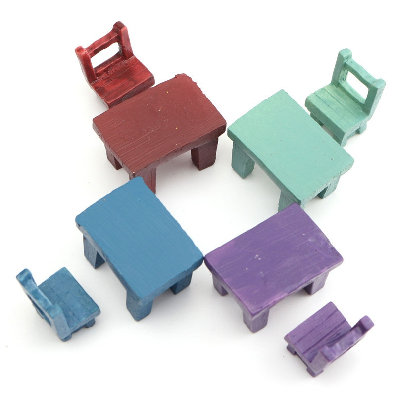 1 chair and 1 table Cute Mini Ornament Resin Chairs Tables Desk Micro Landscape Miniatures Garden Craft Home Decoration EN4361
