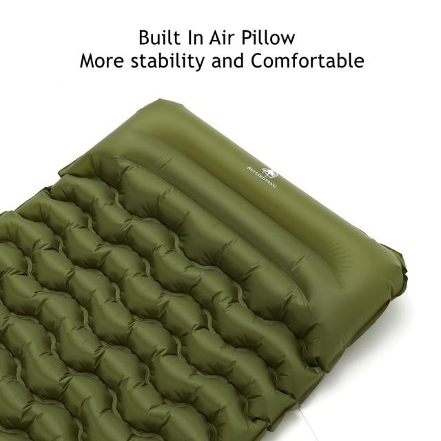 2019 New Sleeping Pad With Pillow Air Bag Hand Press Wave Shaped Inflating Camping Mattress Ultralight Outdoor Hiking Tent Mats 3