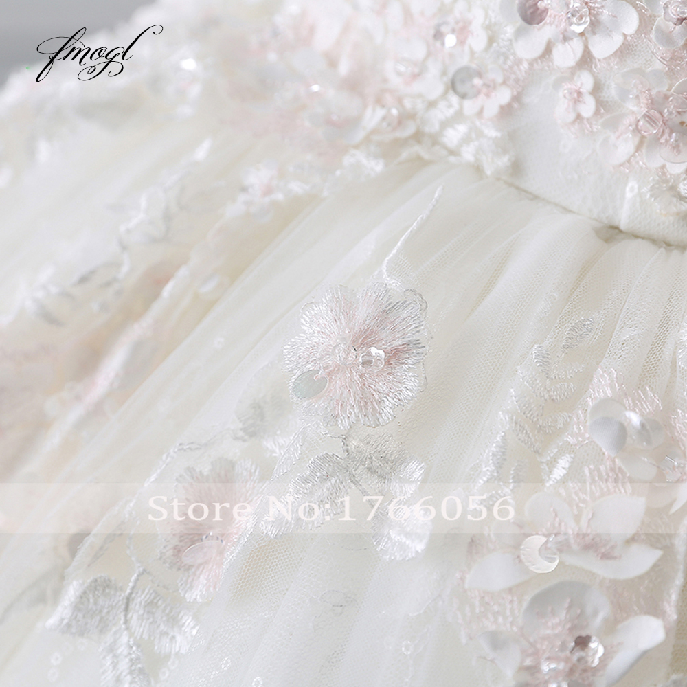 Image 5 - Fmogl Vestido De Noiva Princess Ball Gown Wedding Dresses 2019 Appliques Beaded Flowers Chapel Train Lace Bridal Dress-in Wedding Dresses from Weddings & Events