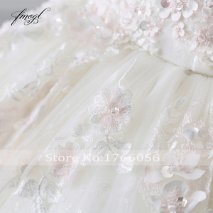 Image 5 - Fmogl Vestido דה Noiva נסיכת כדור שמלת חתונת שמלות 2019 אפליקציות חרוזים פרחי קפלת רכבת תחרת כלה שמלה