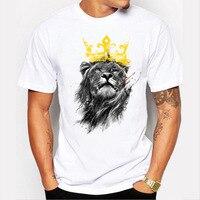 Наивысшего качества из хлопка, с коротким рукавом и рисунком повседневные мужские корона с принтом льва футболка