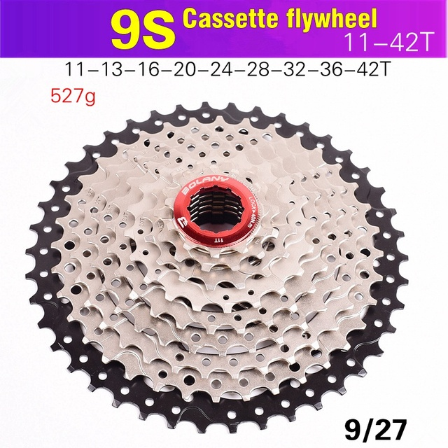 BOLANY Bicycle Flywheel 9S 11 36 11 40 11 42 Mountain Bike Flywheel 9S 27Speed Cassette Sprocket For Wide Ratio