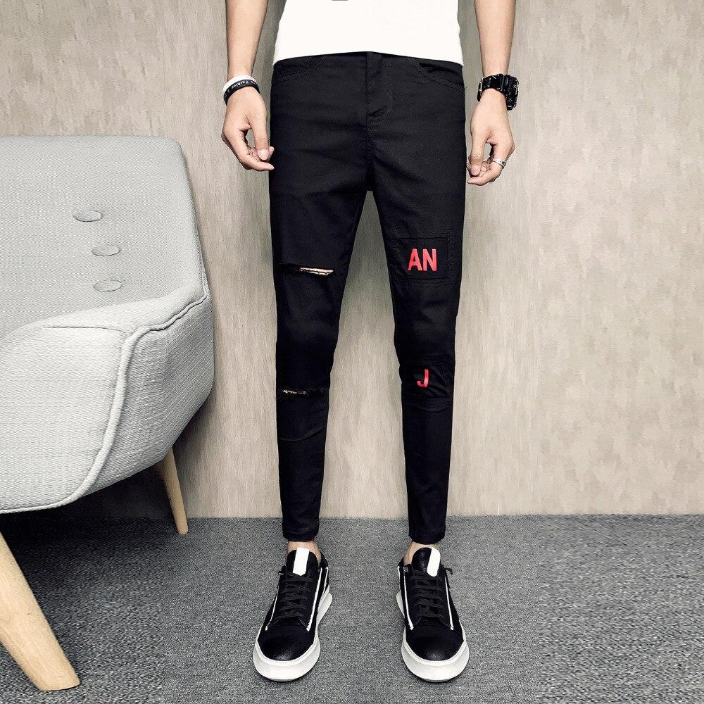 Quality Summer Jeans Men Fashion Slim Fit Hole Print Denim Pants Men Clothes 2018 Ankle Length Casual Men Jeans Hip Hop Trousers