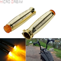 Motorcycle Brass Hand Grip 1'' & 25mm Retro Rough Crafts Grips w/ LED Flashing Light For Harley Chopper Sportster Bobber Dyna