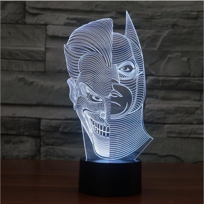 Novelty Joker Batman 3D Illusion Bulb Lamp Double face LED Night Light USB lamparas led Table Desk Lamps Bedroom christmas gift