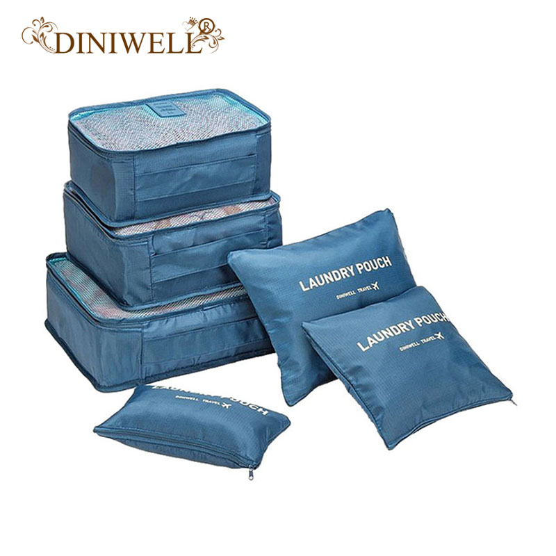 DINIWELL  New 6PCS/Set High Quality Oxford Cloth Travel Mesh Bag In Bag Luggage Organizer Packing Cube Organiser for ClothingDINIWELL  New 6PCS/Set High Quality Oxford Cloth Travel Mesh Bag In Bag Luggage Organizer Packing Cube Organiser for Clothing