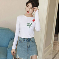 Women Cotton Rose Letter Embroidered T-shirts Long-sleeved Round Collar Shirt Tops Autumn Female Slim All-match Pullover T-shirt