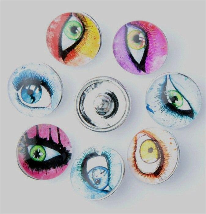 442149fe7 30 قطعة/الوحدة مزيج الألوان الجملة زجاج عيون 18 ملليمتر diy التقط أزرار  للأطفال الفتيات diy سوار مجوهرات