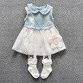 Vestidos moda de nova 2016 verão denim patchwork denim vestido da menina de vestido para meninas roupas de bebê recém-nascido